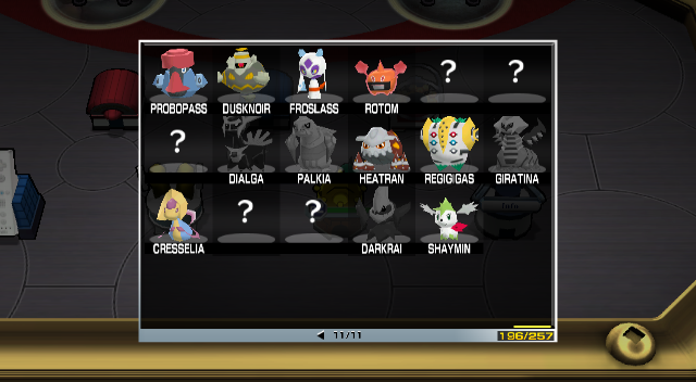 Pokemon Rumble - Menus  - Missing Phione, Manaphy, Uxie, Mesprit, Azelf - User Screenshot